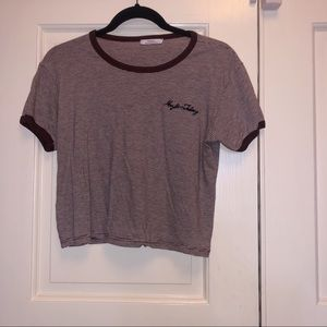 Primark | Maroon and White Stripped Crop Top